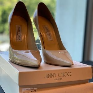 Jimmy Choo Patent Leather Nude Anouk 39.5 in box